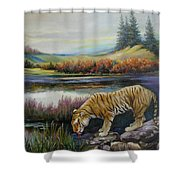 Tiger By The River Shower Curtain