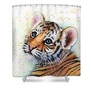 Tiger Cub Watercolor Art Shower Curtain