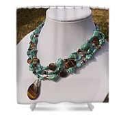 Tiger Eye And Turquoise Triple Strand Necklace 3640 Shower Curtain