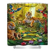 Tiger Family In The Jungle Shower Curtain by Jan Patrik Krasny