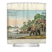 Tiger Hunting On An Indian River Shower Curtain