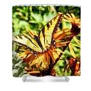 Tiger Swallowtail On Yellow Wildflower Shower Curtain