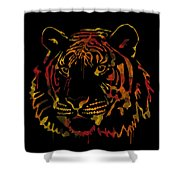 Tiger Watercolor - Black Shower Curtain