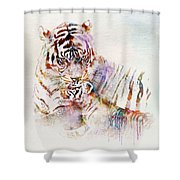 Tiger With Cub Watercolor Shower Curtain