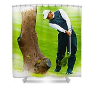 Tiger Woods Hits A Shot From The Rough Shower Curtain
