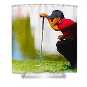 Tiger Woods Lines Up A Putt On The 18th Green Shower Curtain