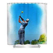 Tiger Woods Plays His Tee Shot On The 15th Hole Shower Curtain