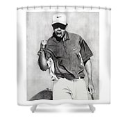 Tiger Woods Pumped Shower Curtain by Devin Millington