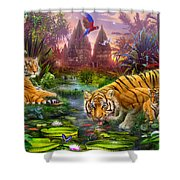 Tigers At The Ancient Stream Shower Curtain by Jan Patrik Krasny