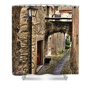 Tight Alley With A Bridge Shower Curtain