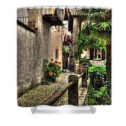Tight Alley With Palm Trees Shower Curtain