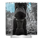 Tiki Man In Infrared Shower Curtain