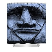 Tiki Mask Cyan Shower Curtain