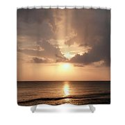 Tiki Sunset 1 Shower Curtain