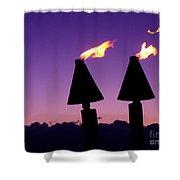Tiki Torches Shower Curtain