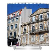 Tiled Building In Chiado District Of Lisbon Shower Curtain