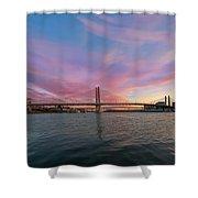 Tilikum Crossing Over Willamette River In Portland Oregon Shower Curtain