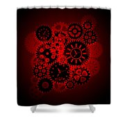 Time Clock Gears Clipart On Red Background Shower Curtain