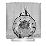 Time In The Sand In Black And White Shower Curtain