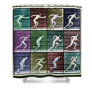 Time Lapse Motion Study Man Running Color Shower Curtain