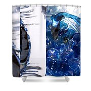 Time Line In Blue Shower Curtain