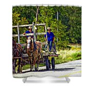 Time Travelers Impasto Shower Curtain