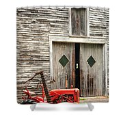 Red Tractor And Old Barn Ossipee New Hampshire Shower Curtain