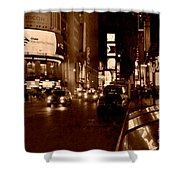 Times Square At Night - In Copper Shower Curtain