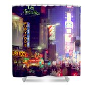 Times Square At Night - Columns Of Light Shower Curtain