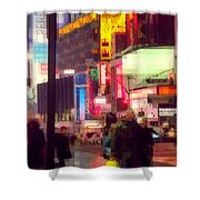 Times Square - Man Walking With Yellow Bag Shower Curtain