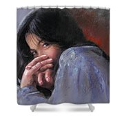 Timid Girl Shower Curtain