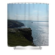 Man On The Edge Tintagel Shower Curtain