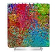 Tiny Blocks Digital Abstract - Bold Colors Shower Curtain