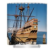 Tiny Mayflower At Plymouth Rock Shower Curtain