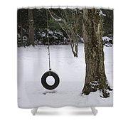 Tire Swing In Winter Shower Curtain