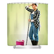 Tired Charwoman Shower Curtain by Carlos Caetano