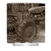 Tired Tractor...... Sepia Shower Curtain