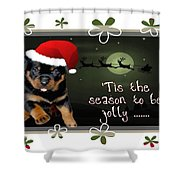 'tis The Season To Be Jolly Holiday Greetings Shower Curtain