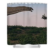 Titanosaurus Standing Grazing In Swamp Shower Curtain
