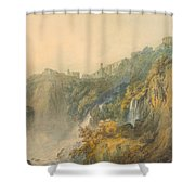 Tivoli With The Temple Of The Sybil And The Cascades Shower Curtain