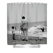 To Fish Or Surf That Is The Question Shower Curtain