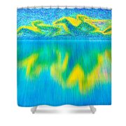 To West  Horses With Reflection Shower Curtain