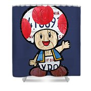 Toad From Mario Brothers Nintendo Original Vintage Recycled License Plate Art Portrait Shower Curtain
