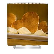 Toast Hearts With Butter Shower Curtain