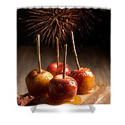 Toffee Apples Group Shower Curtain by Amanda Elwell