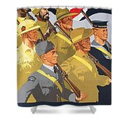 Together Propaganda Poster Shower Curtain by Anonymous