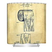 Toilet Paper Roll Patent Drawing From 1891 - Vintage Shower Curtain