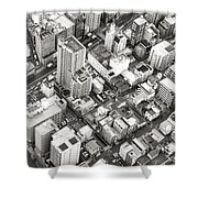 Tokyo City Black And White Shower Curtain