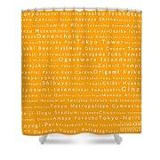Tokyo In Words Orange Shower Curtain