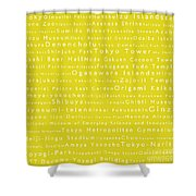 Tokyo In Words Yellow Shower Curtain